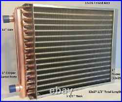 12x24 Water to Air Heat Exchanger1 Copper Ports with EZ Install Front Flange