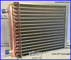 14x18 Water to Air Heat Exchanger1 Copper Ports with EZ Install Front Flange