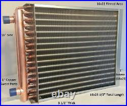16x22 Water to Air Heat Exchanger1 Copper Ports with EZ Install Front Flange
