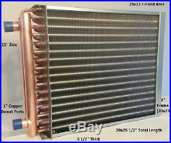 20x22 Water to Air Heat Exchanger1 Copper Ports with EZ Install Front Flange