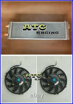 Air to Water 28x7x3 Aluminum Liquid Heat Exchanger universal Intercooler +FAN