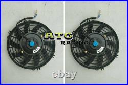 Air to Water Intercooler Aluminum +FAN Liquid Heat Exchanger universal 28x7x3