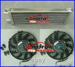 Air to Water Intercooler Aluminum Liquid Heat Exchanger Universal 21x6.6 &Fans