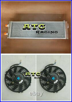 Air to Water Intercooler +FAN 28x7x3 Aluminum Liquid Heat Exchanger universal