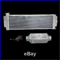 CXRacing Aluminum 2 Row Heat Exchanger Liquid to Air Intercooler Water Pump