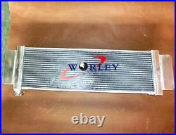 Universal Aluminum Heat Exchanger Air to Water Intercooler Radiator FANS cap